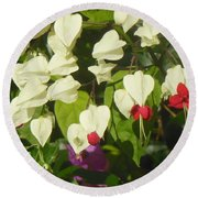 Red And White Surprise 2 Round Beach Towel