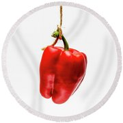 Red Bell Pepper On A White Background Round Beach Towel