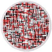 Red Black White Geometric Round Beach Towel