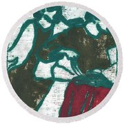 Red Detachment Of Women Painting Round Beach Towel