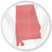 Red Dot Map Of Alabama Round Beach Towel