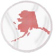 Red Dot Map Of Alaska Round Beach Towel
