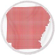 Red Dot Map Of Arkansas Round Beach Towel