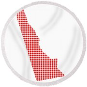 Red Dot Map Of Delaware Round Beach Towel
