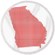Red Dot Map Of Georgia Round Beach Towel