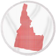 Red Dot Map Of Idaho Round Beach Towel