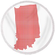 Red Dot Map Of Indiana Round Beach Towel