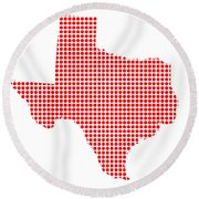 Red Dot Map Of Texas Round Beach Towel