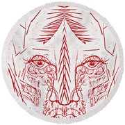 Red Face Round Beach Towel
