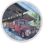 Red Ford And Pink Flowers Round Beach Towel