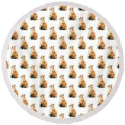 Red Fox Watercolor Pattern Round Beach Towel