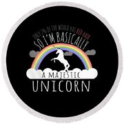 Red Hair Majestic Unicorn Funny Redhead Round Beach Towel