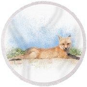 Red Kit Fox #16 - Yoga Sphinx Round Beach Towel by Patti Deters