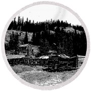 Red Lion Ghost Town Montana Round Beach Towel