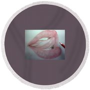 3 D Red Lips Round Beach Towel
