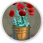 Red Patio Poppies Round Beach Towel