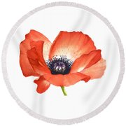 Red Poppy Flower, Image For Prints On Tshirt Round Beach Towel