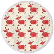 Red Reindeer Pattern Round Beach Towel