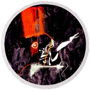 Red Room Zoom Round Beach Towel
