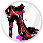 Red Shoe With High Heel Round Beach Towel