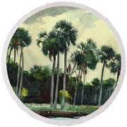 Red Shrt, Homosassa, Florida Round Beach Towel