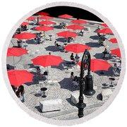 Red Umbrellas 2 Round Beach Towel