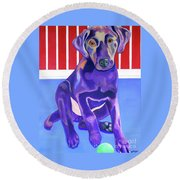 Red, White And Blue Waiting For You Round Beach Towel
