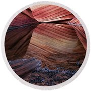 Reflection Of Cliffs In Water Round Beach Towel
