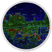 Reflections Of A Green Land Round Beach Towel