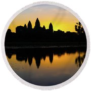 Reflections Of Angkor Round Beach Towel