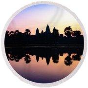 Reflections Of Angkor Wat - Siem Reap, Cambodia Round Beach Towel