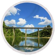Reflections Of The Ozarks Round Beach Towel