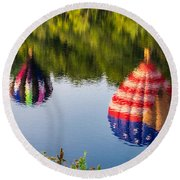 Reflections On The Androscoggin Round Beach Towel