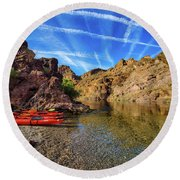 Reflections On The Colorado River Round Beach Towel