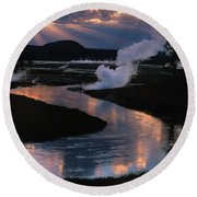 Reflections On The Firehole River Round Beach Towel