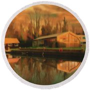 Reflections On The Wey Round Beach Towel