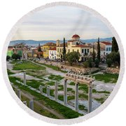 Remains Of The Roman Agora And Cityscape Of  Athens, Greece Round Beach Towel