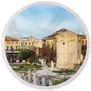 Remains Of The Roman Agora And Tower Of The Winds In Athens Round Beach Towel