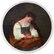 Repentant Mary Magdalene Round Beach Towel