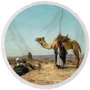 Rest In The Syrian Desert, 19th Century Round Beach Towel