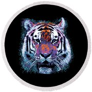 Retro 80s Tiger Face Splatter Paint Round Beach Towel