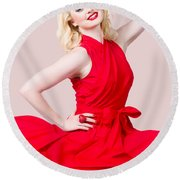 Retro Blond Pinup Woman Wearing A Red Dress Round Beach Towel
