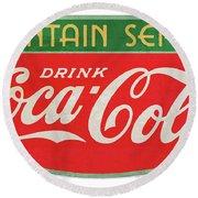 Retro Coke Sign Round Beach Towel