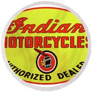 Retro Indian Motorcycles Round Beach Towel