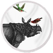 Rhinoceros With Birds Art Print Round Beach Towel
