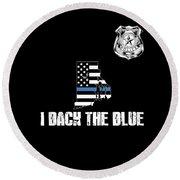Rhode Island Police Appreciation Thin Blue Line I Back The Blue Round Beach Towel