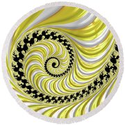 Ribbed Yellow Spiral Round Beach Towel