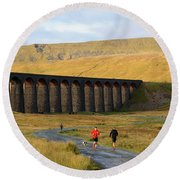 Ribblehead Viaduct In Late Autumn North Yorkshire Round Beach Towel