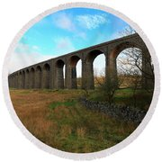 Ribblehead Viaduct On The Settle Carlisle Railway North Yorkshire Round Beach Towel