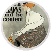 Ride A Stearns And Be Content, Circa 1896 Round Beach Towel
